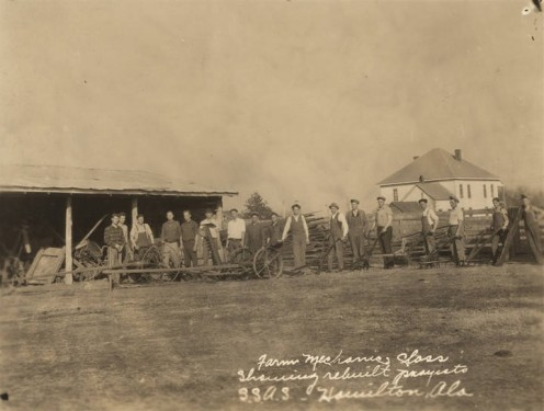 Students in a farm mechanics class at an agricultural school in Hamilton, Alabama ca. 1900 (Alabama Department of Archives and History--this was the direct result of Ford's Mill, Hamilton, the most-prosperous of the town's businesses.
