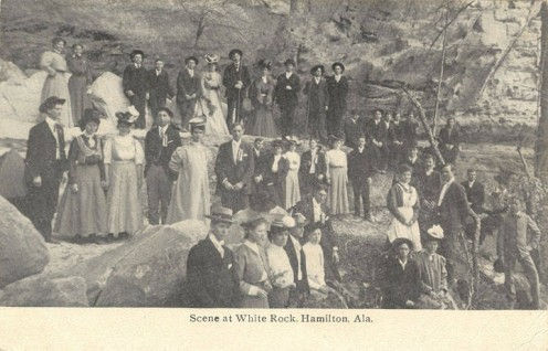 Scene at White Rock, Hamilton AL. This area is still standing and mostly-unchanged. The couples in this photo were the children of some of Hamilton, Alabama's, most-prestigious town leaders and merchants.