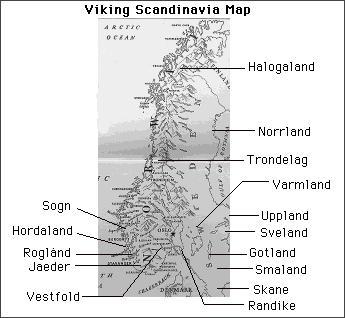 Scandinavia's main regions in the Viking Age