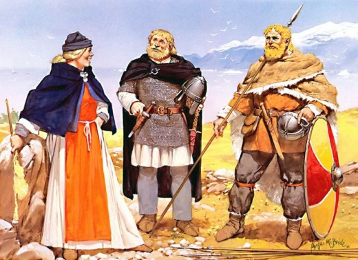 Two 11th Century merchant adventurer-warriors with a woman of high social standing against a wild backdrop - migrants came here from Norway to get away from Harald Fairhair's exacting taxes