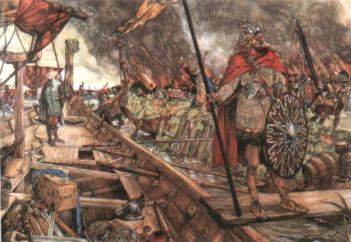 The plunder of Dorestad by Vikings - Dorestad was a principal inland trading haven in the lowlands, crucial to the Frankish western Frankish economy