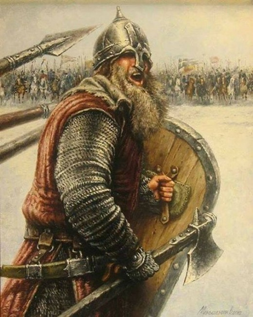 Harald Sigurdsson, 'Hardradi' , seen here leading his men to victory at Gate Fulford a few days before his ignominious end at Stamford Bridge with an English arrow in his thorax