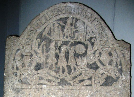 The Gotland Stone, a memorial put up to a warrior depicts fighting men amongst a plethora of figurative images associated with heroism