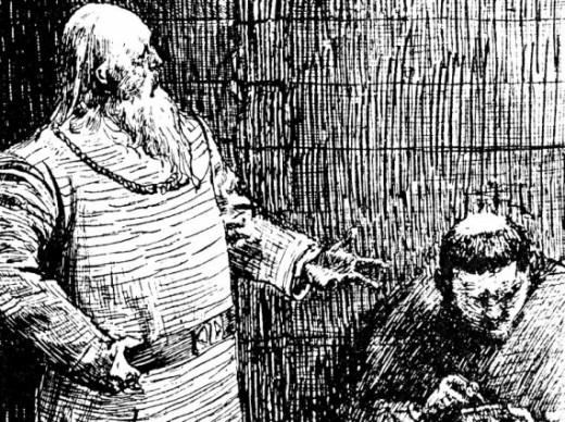 Snorri Sturluson (1179-1241) dictates text to a Brother - the historian was also a credited 'skald' or hall poet who recited his works to later Norse kings