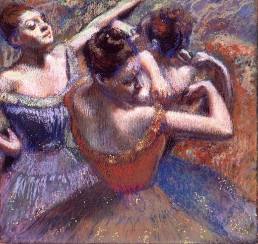 Dancers by Edgar Degas. Think about this scene from the viewpoint of the artist. Then put yourself in the shoes of one of the dancers. How do they differ?