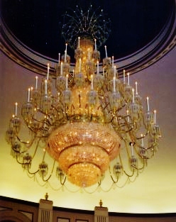 Chandelier hanging from the ceiling in The Grand Palace
