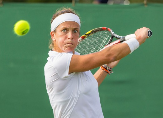 Lourdes Dominguez Lino in the first round of the 2015 Wimbledon Qualifying Tournament at Roehampton, England. The winners of three rounds of competition qualify for the main draw of Wimbledon the following week.