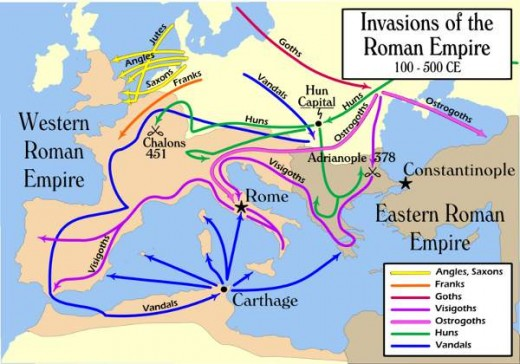 As Rome waned, the Germanic migrations waxed, with the Burgundians, Goths and Vandals covering most ground