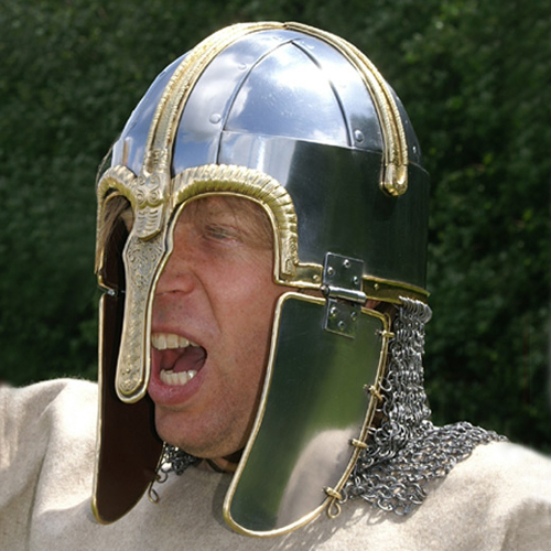 Butted maille Northumbrian Anglian helm found at Coppergate, York, with hinged earguards also adopted in Scandinavia. Chain mail neckguard and hinged nosepiece