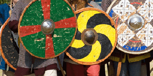 There was a variety of designs used for decoration of shields, and the rim was almost as important as the face if it was to prevent the shield from breaking up under combat conditions