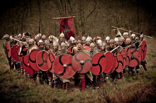 It goes by various names, the 'Saxon wedge', the 'Swine array' and the 'Boar snout'. It can be a defensive formation as much as an offensive one.Aelfred used it against the Danes led by Guthrum