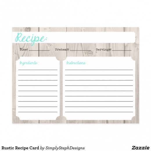 Rustic Recipe Card