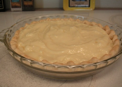 Banana Cream Pie in a baked crust needs to be refrigerated for about two hours before serving.