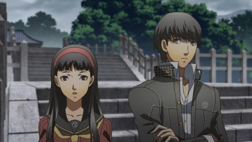 Yu and Yukiko share a quiet moment together at the local shrine.