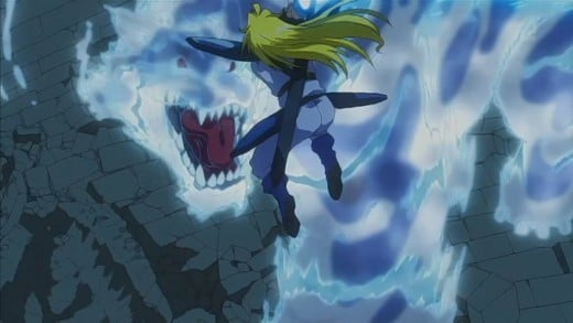 Gourry, brave and stupid man that he is, dives straight into the heart of danger.