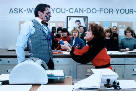 Ditto (Royal Dano) gets his comeuppance on Monday morning when he hogs the mimeograph machine from his colleagues in 1984's Teachers