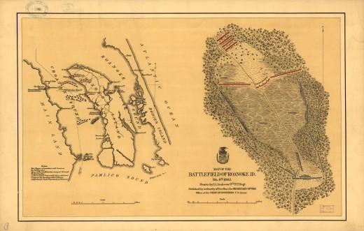 An old map of Roanoke Island, NC.