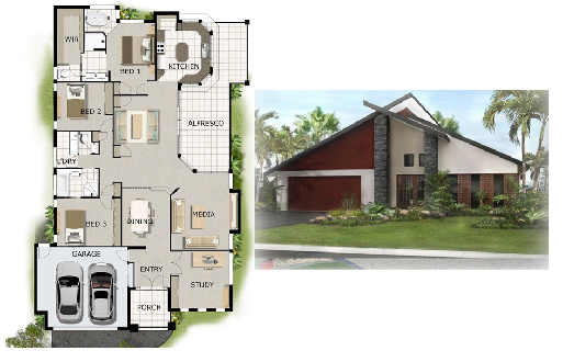 A small house design suitable for empty nesters and baby boomers. The house plan has three bedrooms, open living spaces, a two-car garage, and all other facilities we may require as we age.