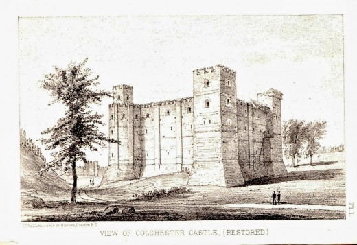Colchester castle after restoration in 1882, contemporary postcard view