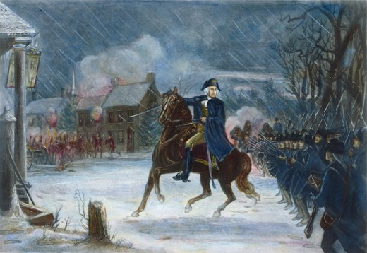 George Washington leading his troops at the Battle of Trenton