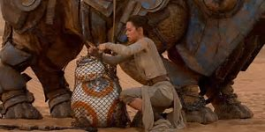 "Rey: Don't give up hope. He still might show up. Whoever it is your waiting for.""  BB 8 BEEP Rey: Classified. Really. Me to, Big Secret. I know all about waiting. For my family. They'll be back. One day."