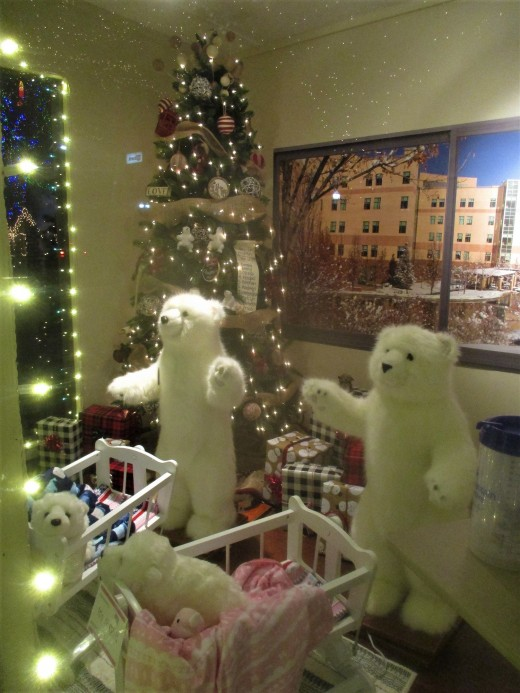 Today, all kinds of strange critters can appear around a Christmas tree, even cuddly polar bears, photo by author