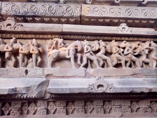 Stone Carvings Temple Walls at Khajuraho
