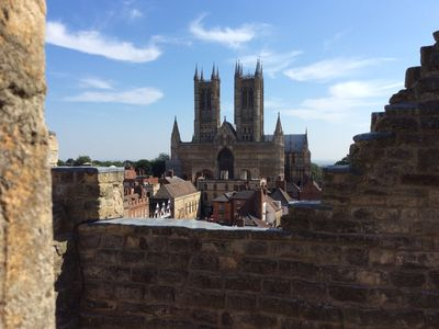 Lincoln Cathedral from the Castle Walkway - strong traces of Norman (Romanesque) influence