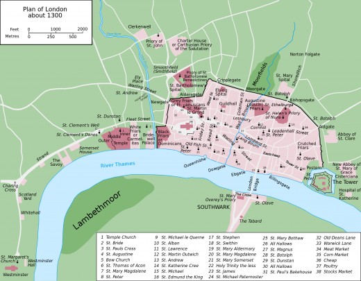 London AD 1300 - charting additions to the city from the Norman to the Angevin and early Plantagenet eras