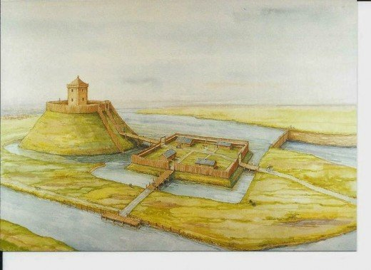 Timber castle, York, built AD 1068 after the first was burnt down in a rising. This one was also burnt down in AD 1069 when the Danes came to help against the Normans