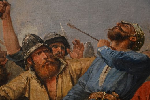 A close-up of a painting that depicts Harald Sigurdsson hit by an English arrow to the thorax - he died slowly, trying to wrest the arrow from his throat