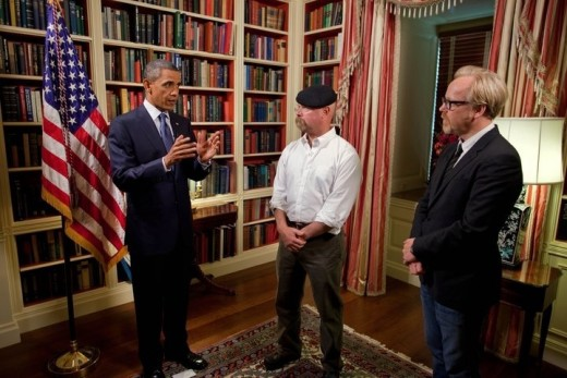 Former President Barack Obama with Jamie Hyneman and Adam Savage of 'MythBusters' at the White House, in 2010.