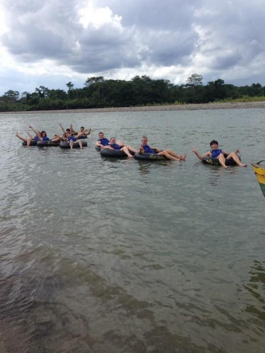 Tubing in Rio Napo. Amazon Rain Forest.