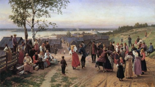 A scene from a Russian village.
