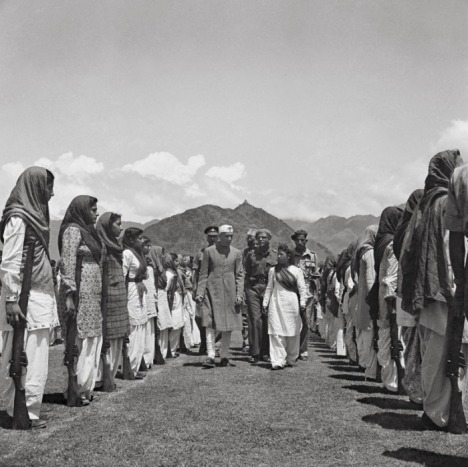 A compelling photograph (above) of Jawharlal Nehru inspecting the Kashmir women's militia – the women's self-defence corps – in Srinagar.
