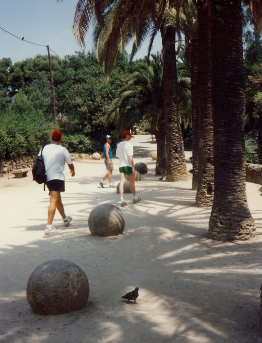 Balls supposed to remind one of the beads of a rosary in Guell Park