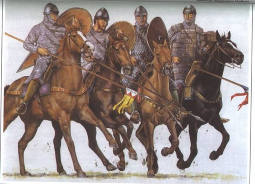 Norman cavalry - the rider second from left with the beard might easily have been a mercenary, as the Normans at this time tended to be clean-shaven