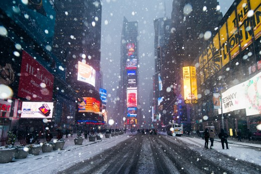 Times Square In A Snowstorm