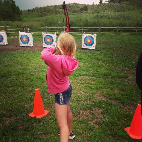 We did get to practice some archery skills at girl scout camp.