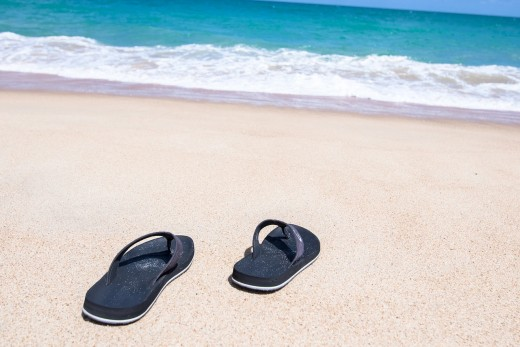 Santa will have shed his work boots for flip flops while on the beach.