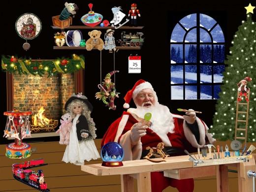 Santa in one room of his workshop