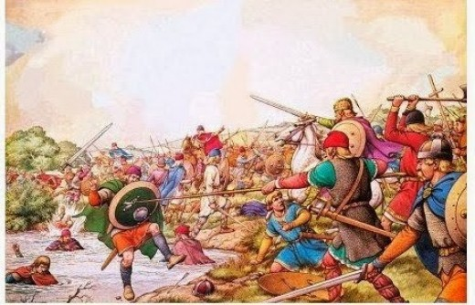 The Battle of the Winwaed, considered to be near Leeds on what was then the northern boundary of Mercia. Penda's Welsh and Erse allies had left with their share of the spoils given by Oswy. Penda, overladen, was caught and punished for Oswald's death