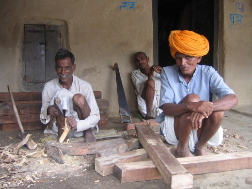 carpenters at work in the village