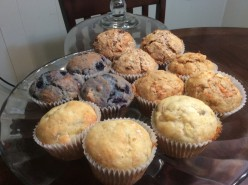 One Pan, Four Kinds of Muffins: Banana, Carrot, Blueberry, and Bran Raisin.
