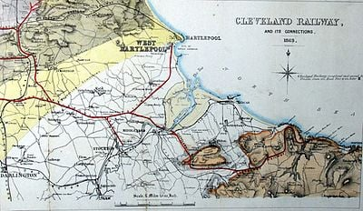 The Cleveland Railway (North Yorkshire) and connecting branches, 1863 (the year the S&DR was absorbed by the NER