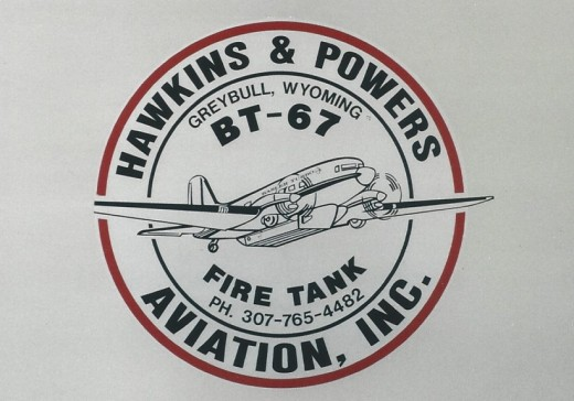 Hawkins & Powers Aviation, Inc.  logo on a BT-67, Andrews AFB, MD, May 2000.