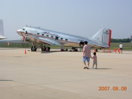 A DC-3 with American Airlines markings at Dulles IAP, September 2007.