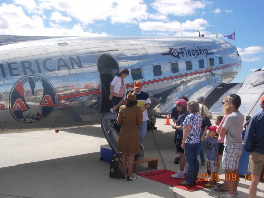 A DC-3 in American Airlines markings, Dulles IAP, September 2013.