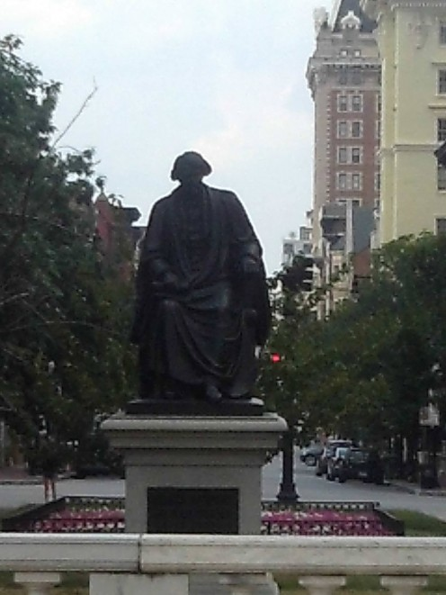 The Roger B. Taney Statue, prior to its removal from the city, in Baltimore City, MD