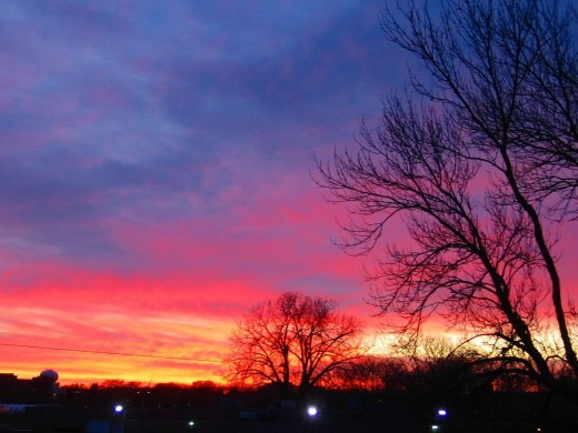 This crimson sunset photo was taken in Minnesota.
